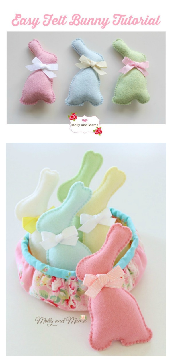 Easy Felt Easter Bunnies Free Sewing Pattern and Template