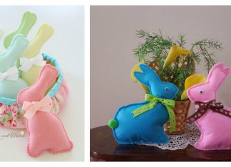 Felt Easter Bunnies Free Sewing Pattern and Template