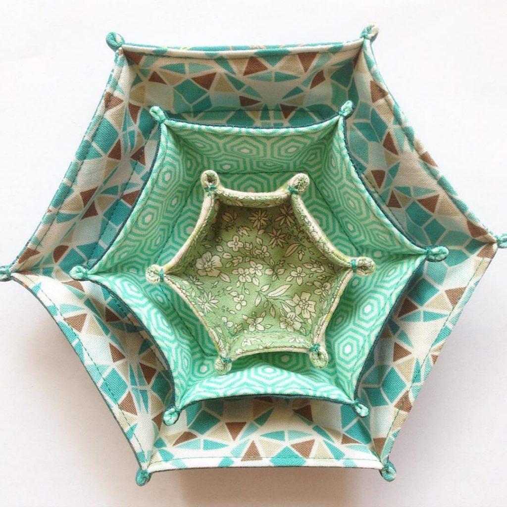 Hexagon Fabric Tray Free Sewing Pattern