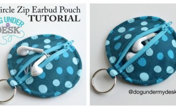 Circle Zip Earbud Pouch Free Sewing Pattern