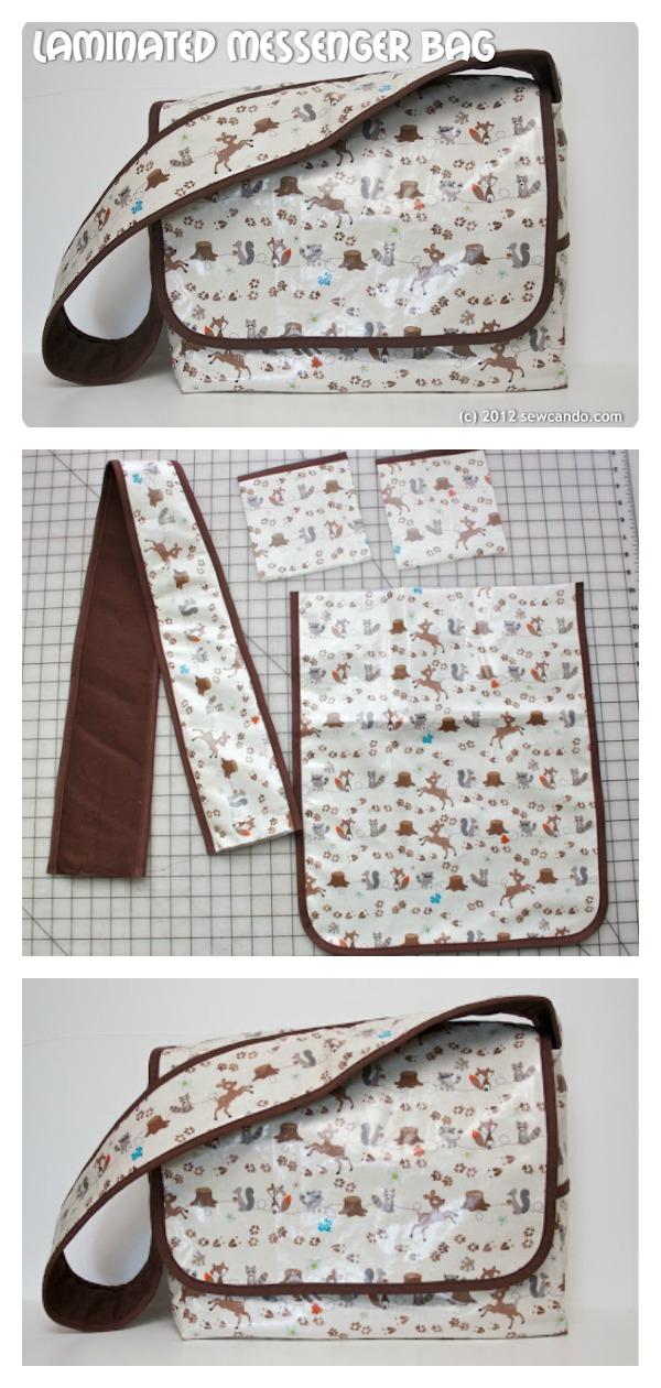 Laminated Messenger Bag Free Sewing Pattern