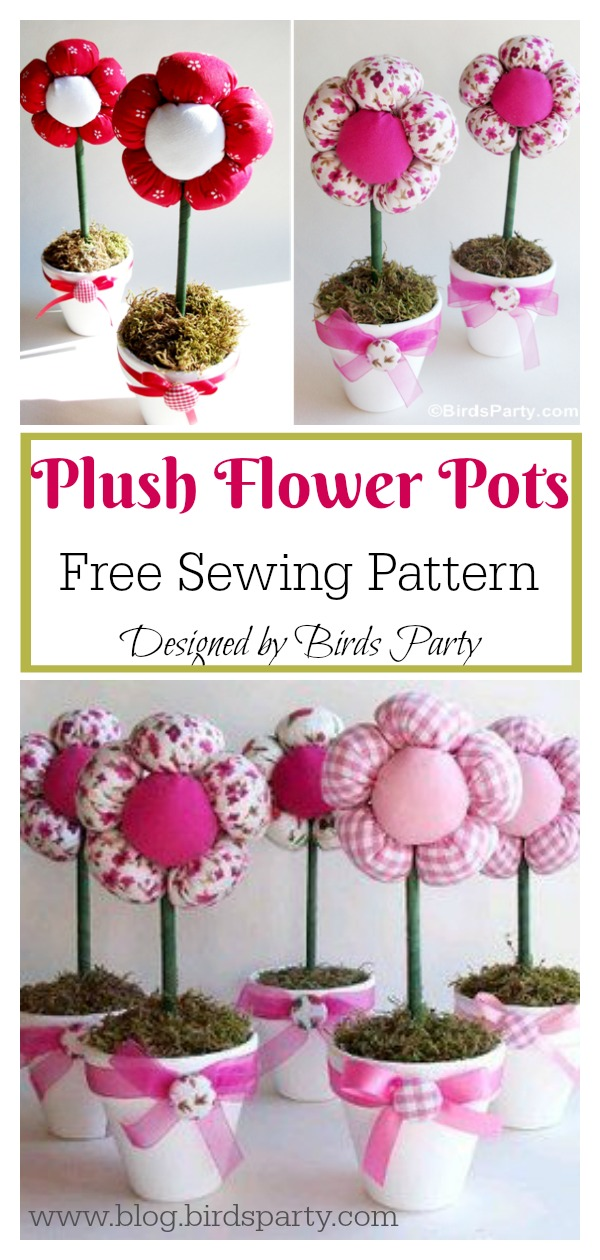 Plush Flower Pots Free Sewing Pattern
