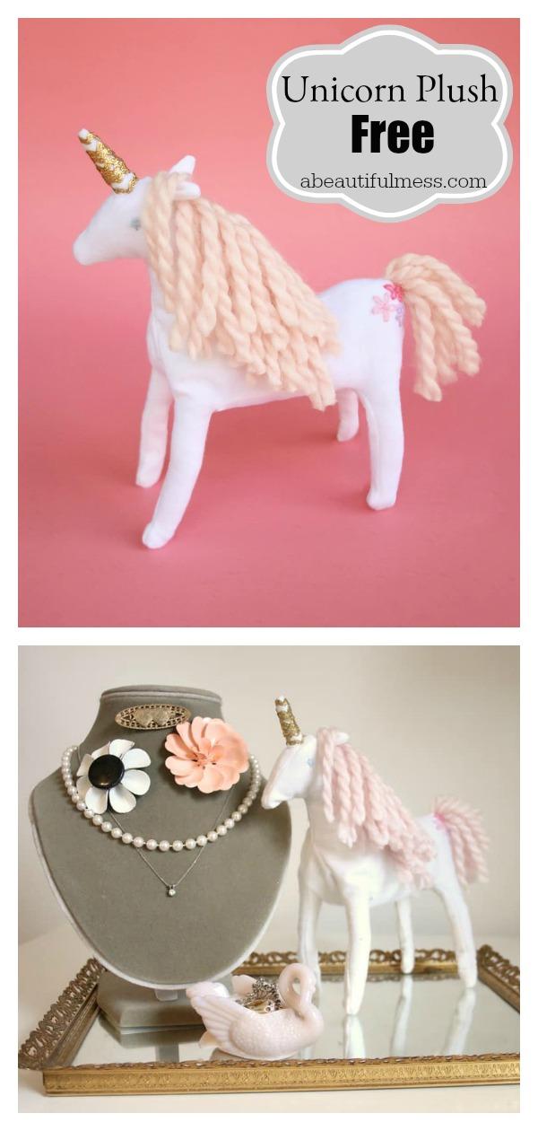 Unicorn Plush Free Sewing Pattern with Template