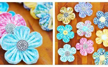 Fabric Kanzashi Flower Free Sewing Pattern