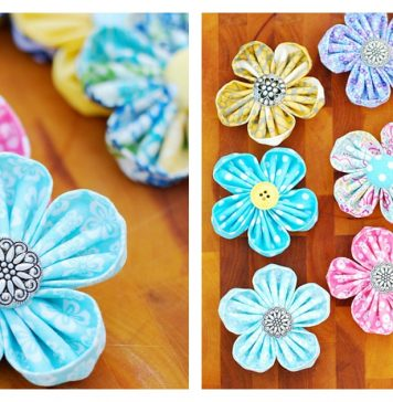 Fabric Kanzashi Flower Free Sewing Pattern