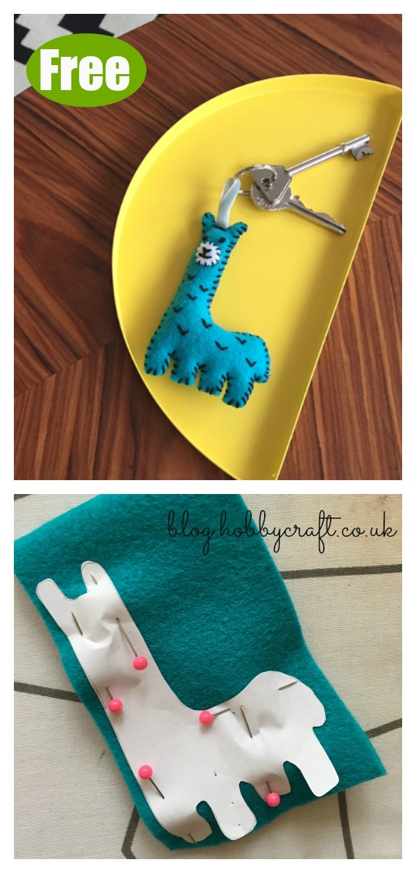 Felt Llama Keychain Free Sewing Pattern with Template