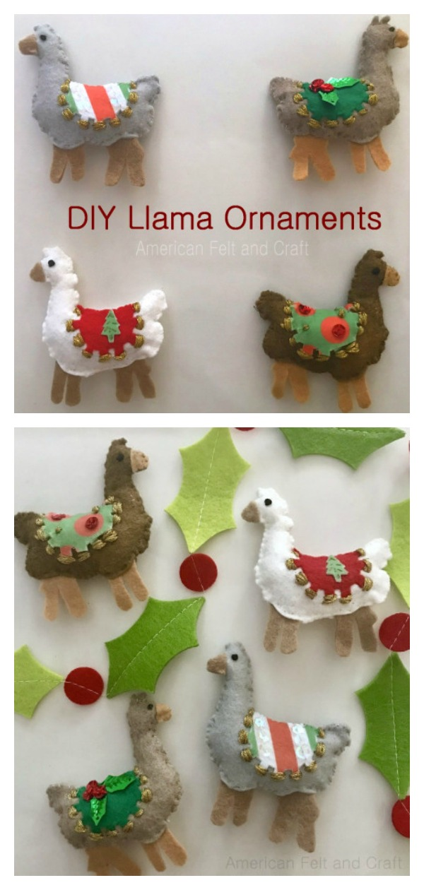 Felt Llama Keychain or Ornaments Free Sewing Pattern with Template