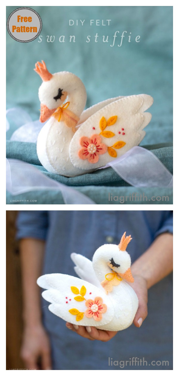 Felt Swan Stuffie with Crown Free Sewing Pattern