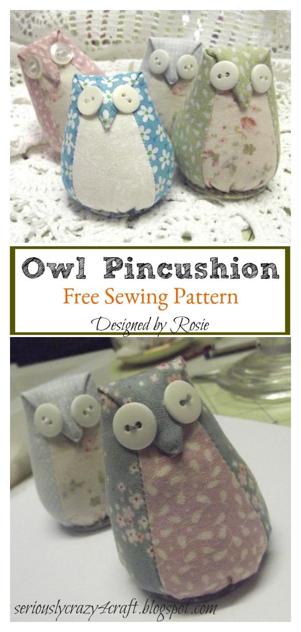 Owl Pincushion Free Sewing Pattern