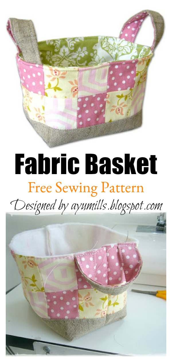 Patchwork Fabric Basket Free Sewing Pattern