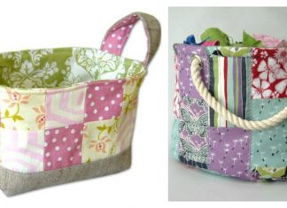 Patchwork Fabric Basket Free Sewing Pattern