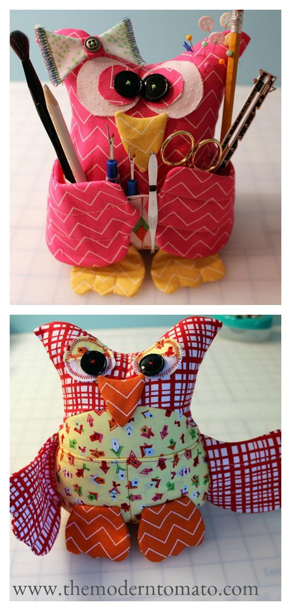 Patchwork Owl Buddy Organizer Free Sewing Pattern