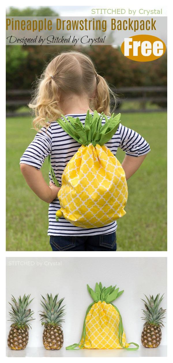 Pineapple Drawstring Backpack Free Sewing Pattern