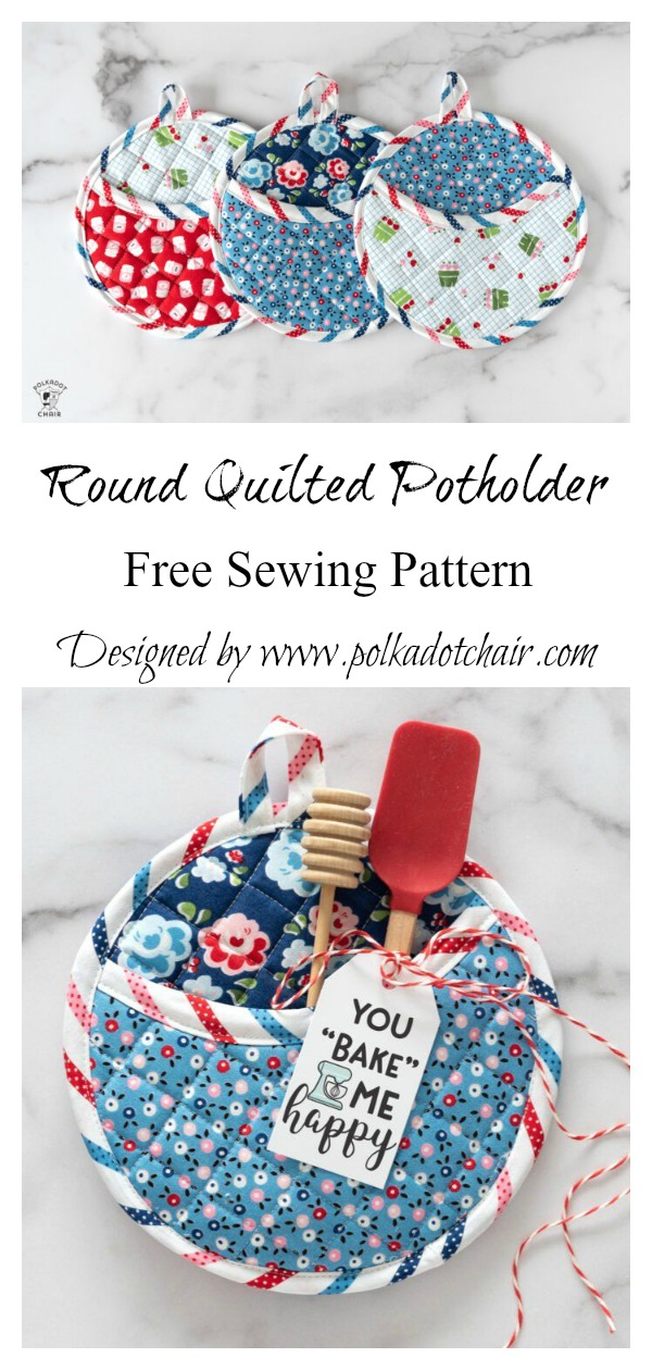 Round Quilted Potholder Free Sewing Pattern