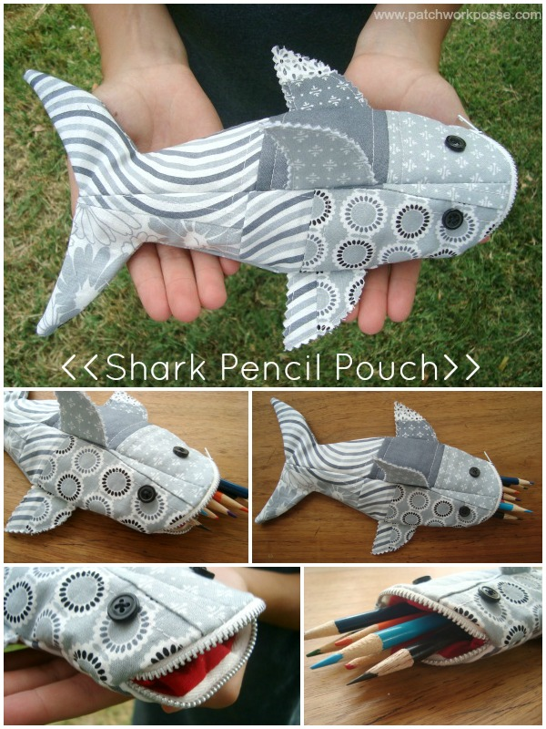 Shark Pencil Case Free Sewing Pattern