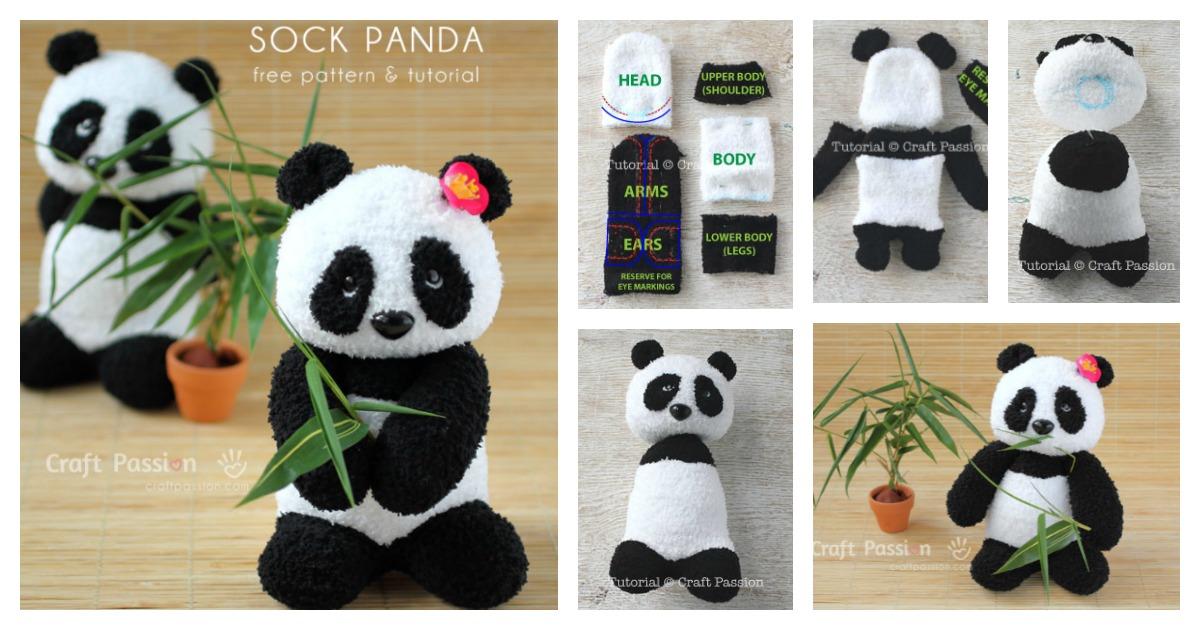 Sock Panda Softie Free Sewing Pattern