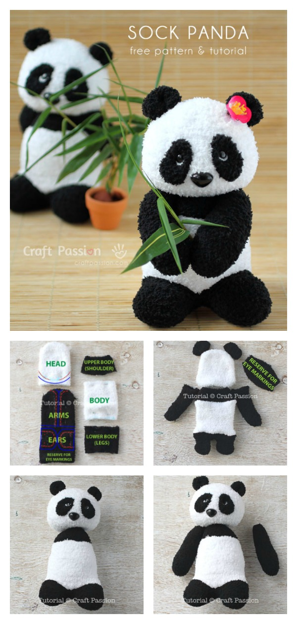Sock Panda Softie Free Sewing Pattern