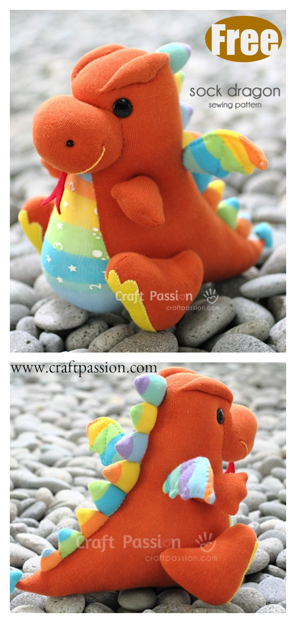 Soft Toy Sock Dragon Free Sewing Pattern