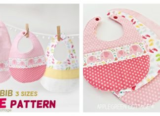 Baby Bib Free Sewing Pattern in 3 Sizes
