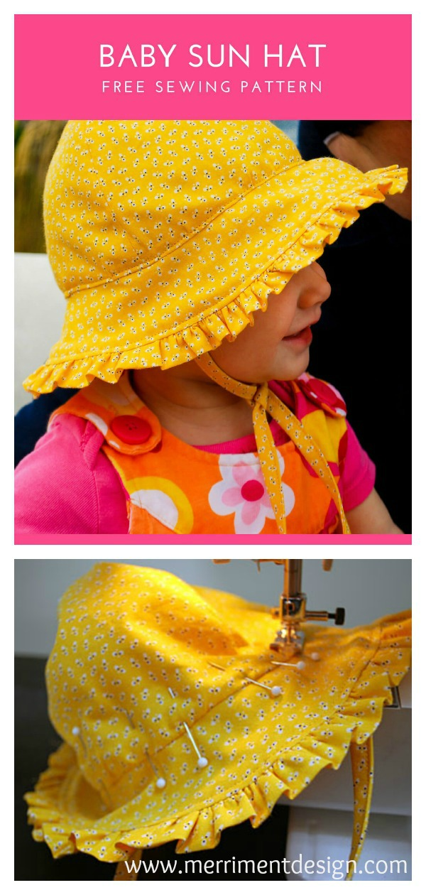 Baby Sun Hat with Ruffles and Ties Free Sewing Pattern