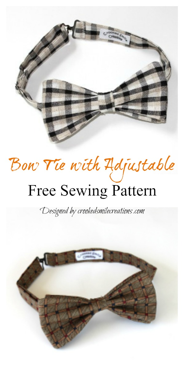 Bow Tie with Adjustable Free Sewing Pattern