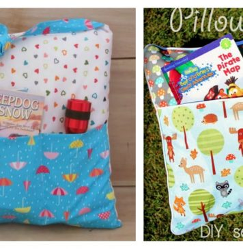 Camping Pocket Pillow Tote Free Sewing Pattern