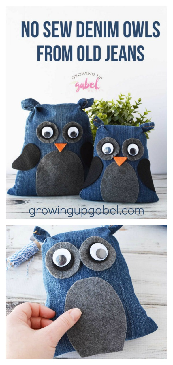 Denim Owls from Old Jeans Free Sewing Pattern