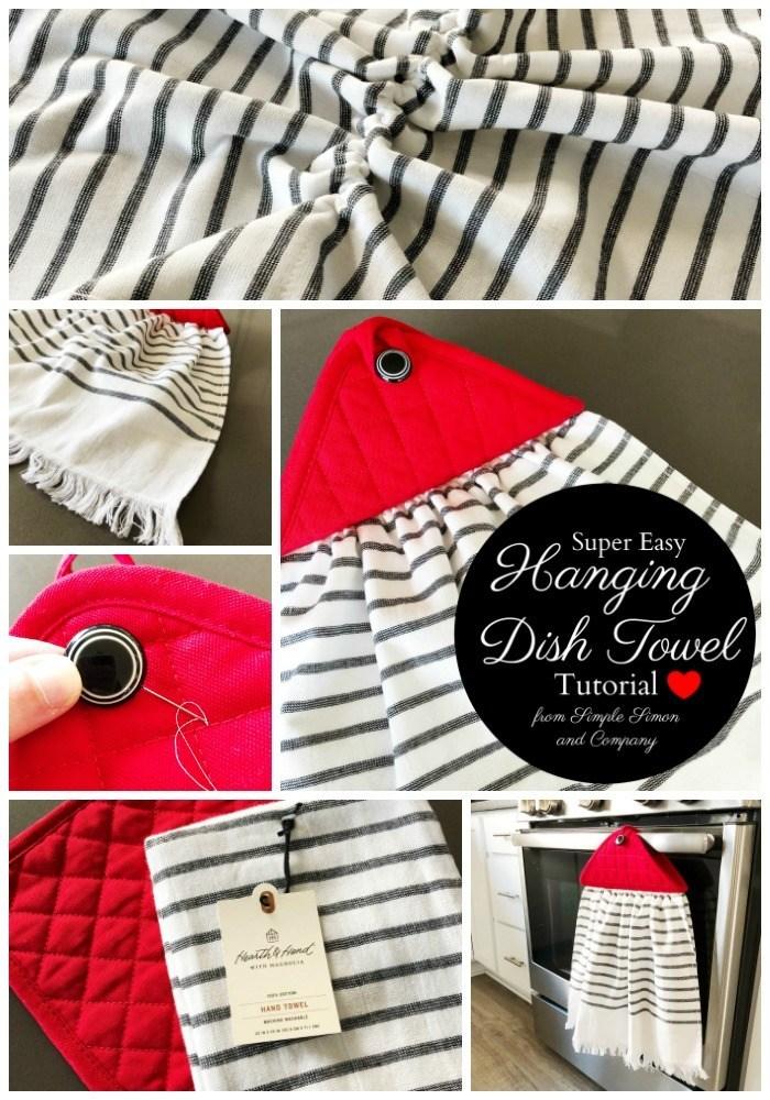 Easy Hanging Dish Towel Free Sewing Pattern