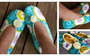 Fabric Slippers With Flower Free Sewing Pattern