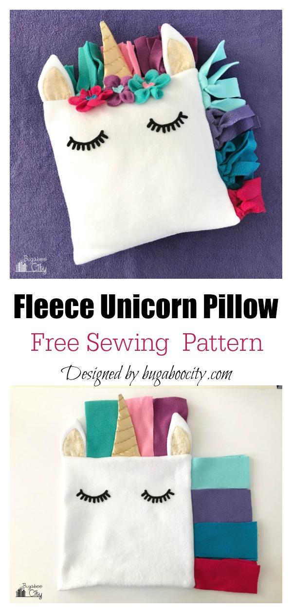 Fleece Unicorn Pillow Free Sewing Pattern