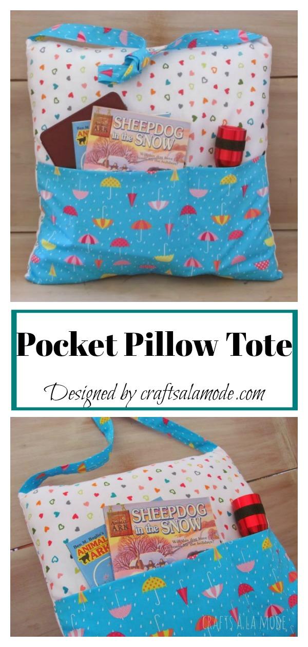 Pocket Pillow Tote Free Sewing Pattern