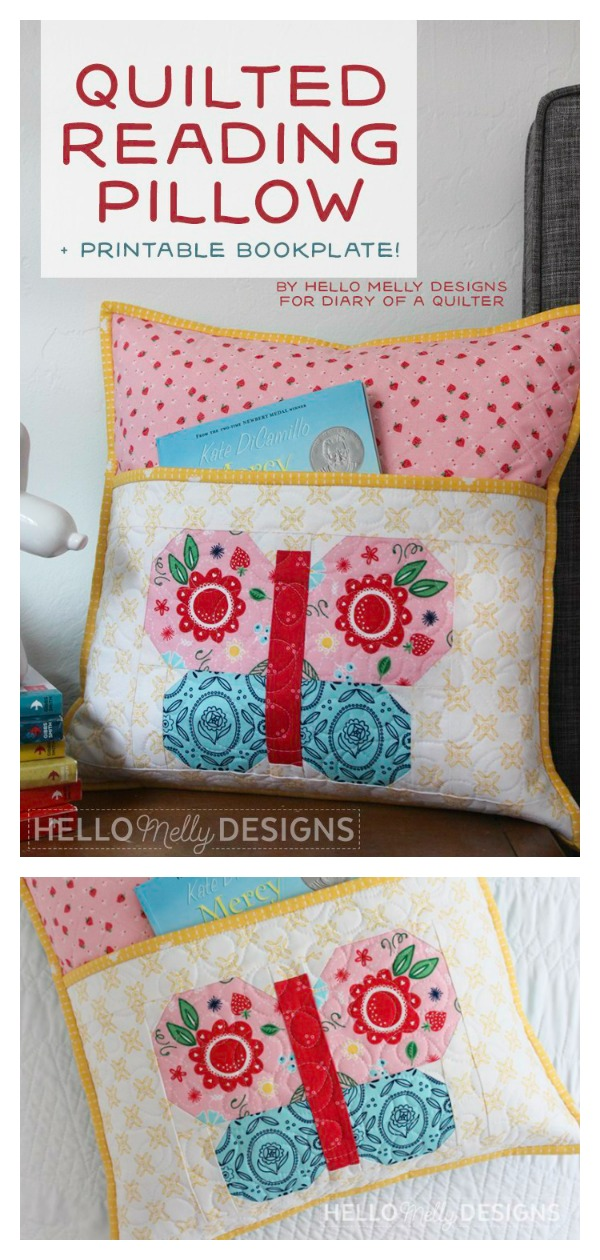 Quilted Butterfly Reading Pocket Pillow Free Sewing Pattern