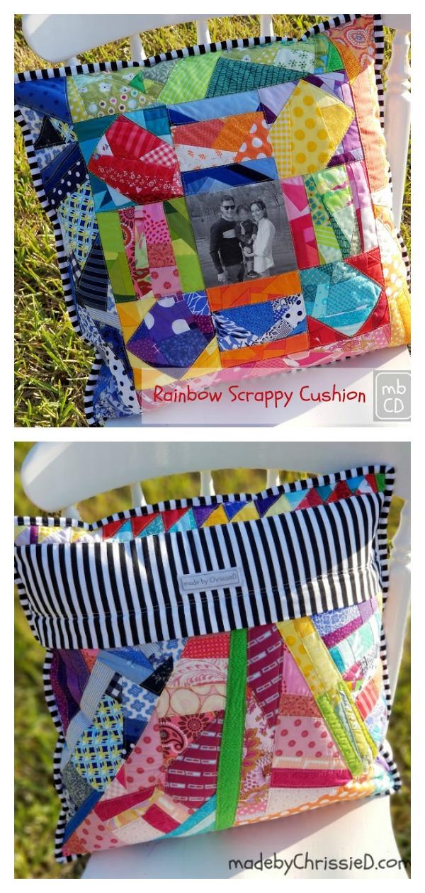 Rainbow Scrappy Photo Cushion Free Sewing Pattern