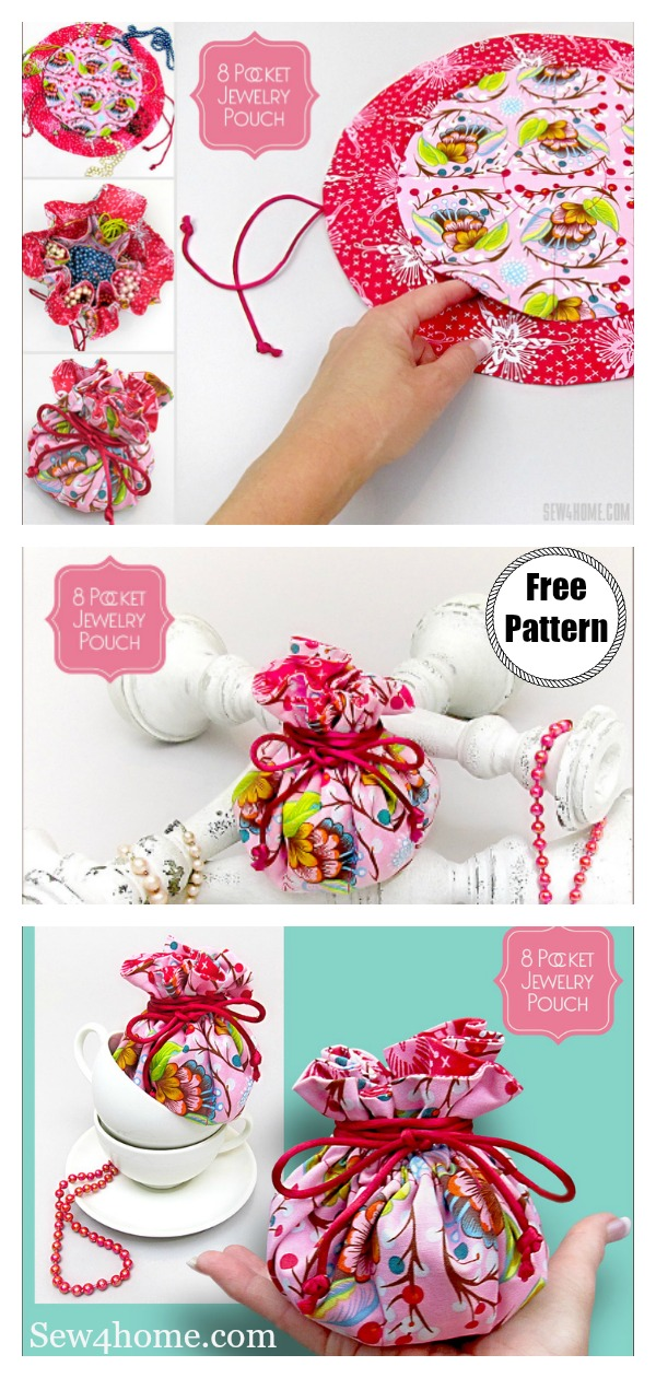 Drawstring 8 Pocket Jewelry Pouch Free Sewing Pattern