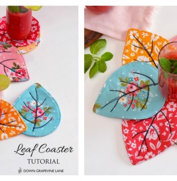 Quilted Leaf Coasters Free Sewing Pattern