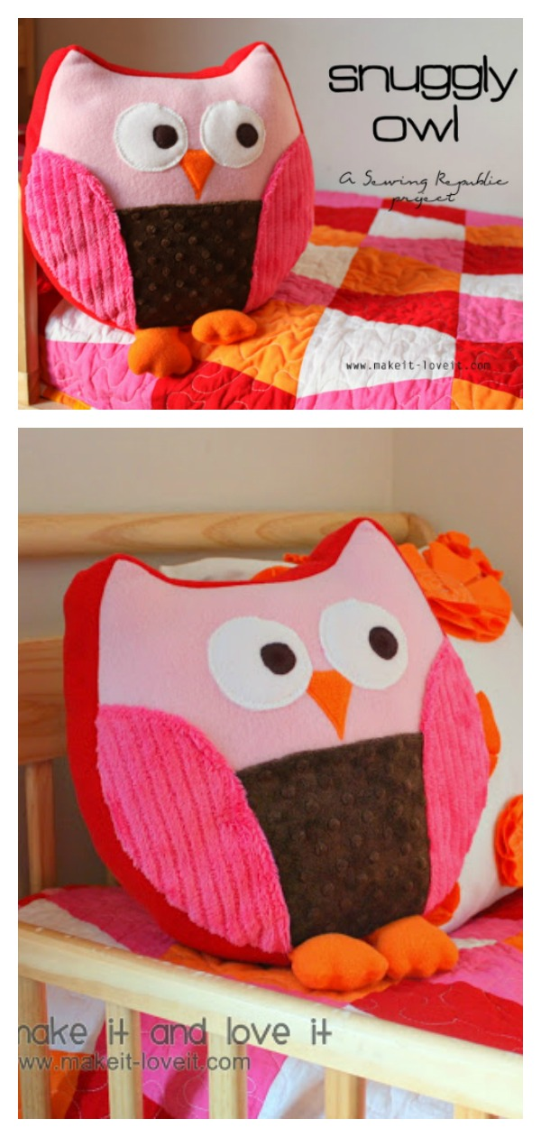 Snuggly Owl Pillow Free Sewing Pattern