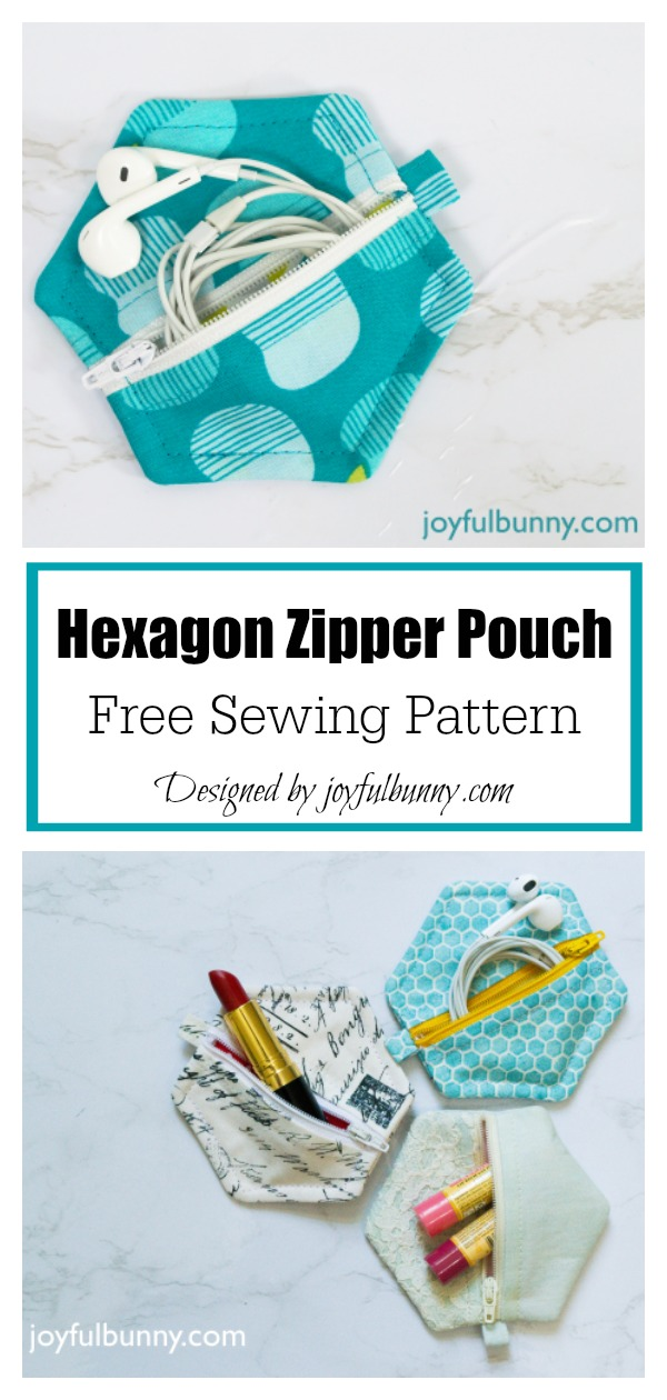 Easy Hexagon Zipper Pouch Free Sewing Pattern