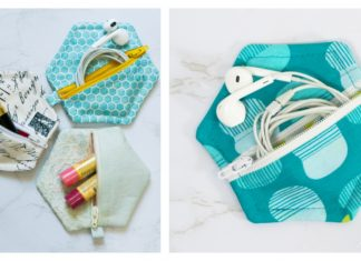 Easy Hexagon Zipper Pouch Free Sewing Pattern