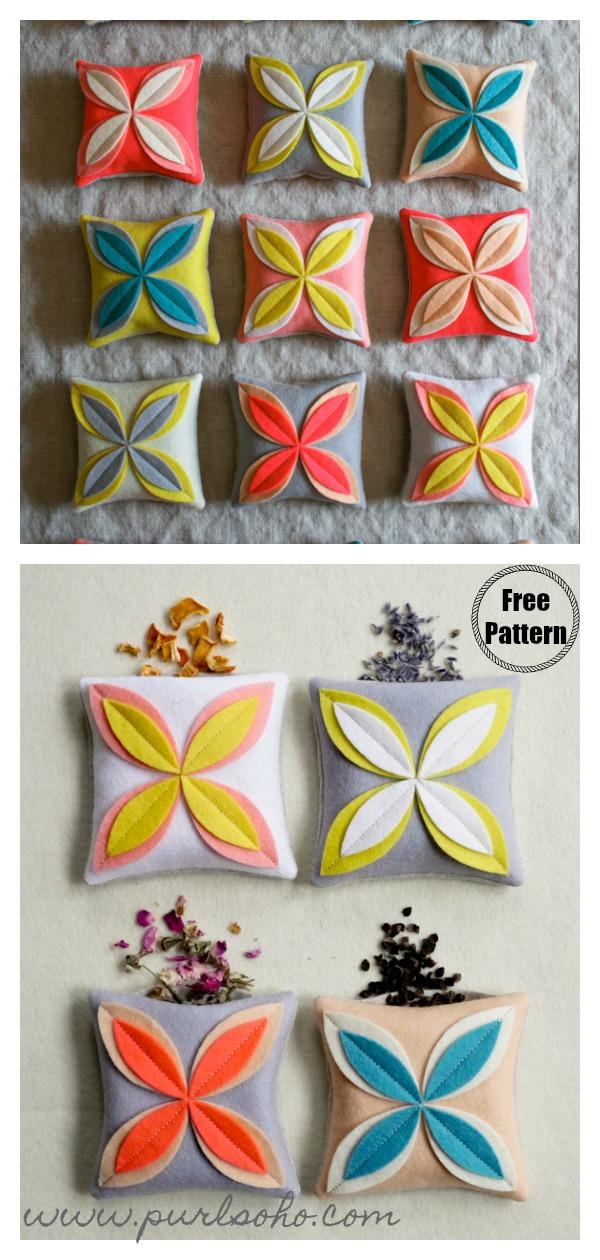 Felt Flower Sachets Free Sewing Pattern