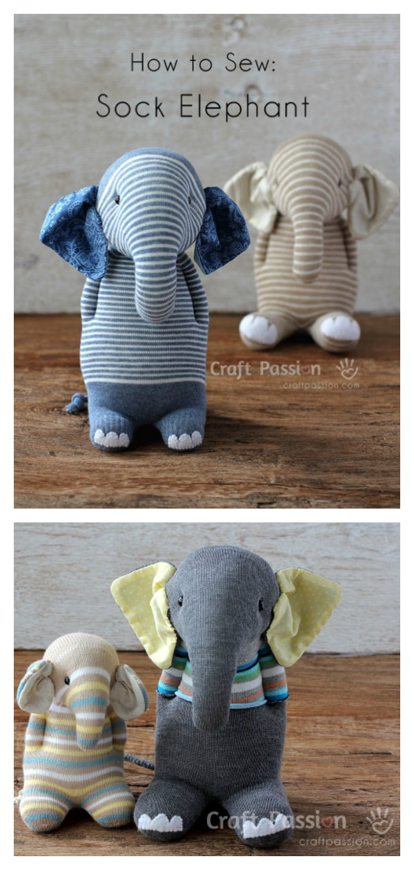 Sock Elephant Softie Toy Free Sewing Pattern