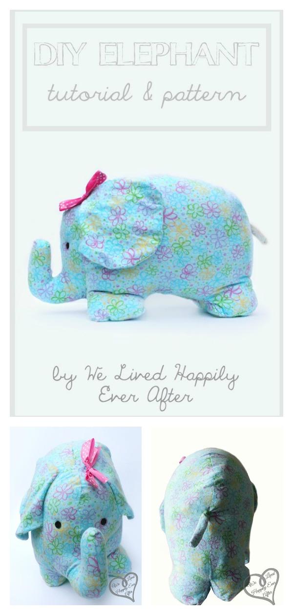 Stuffed Elephant Softie Toy Free Sewing Pattern