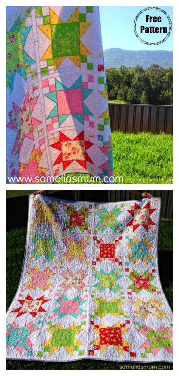 Sugar Stars Quilt Free Sewing Pattern