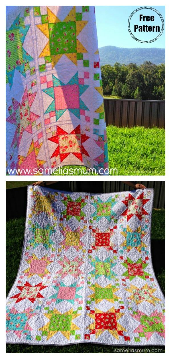 Sugar Stars Quilt Free Sewing Pattern