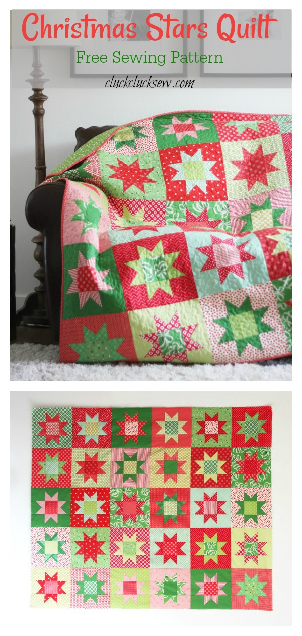Christmas Stars Quilt Free Sewing Pattern