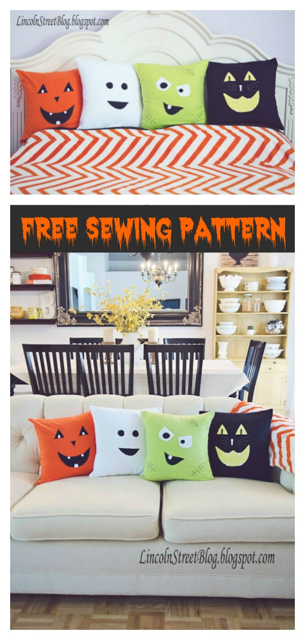 Cute Halloween Throw Pillow Free Sewing Pattern