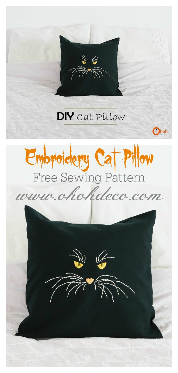 Halloween Embroidery Cat Pillow Free Sewing Pattern
