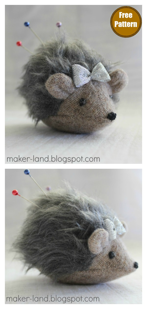 Hedgehog Pincushion Free Sewing Pattern