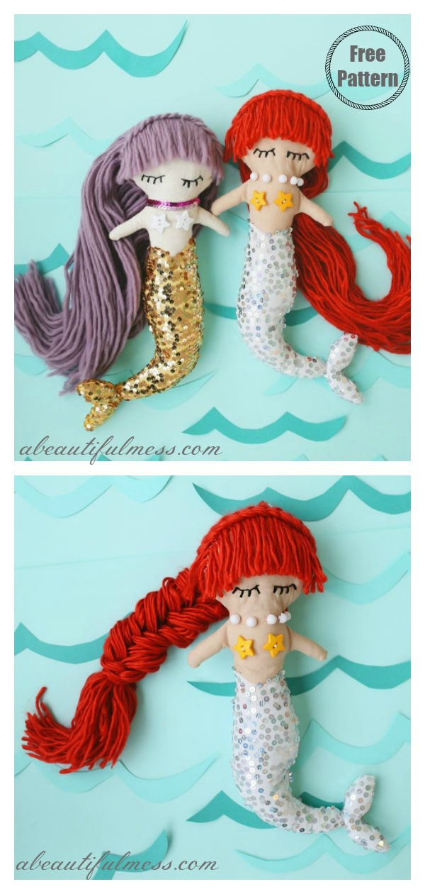 Mermaid Doll with Free Downloadable Sewing Pattern