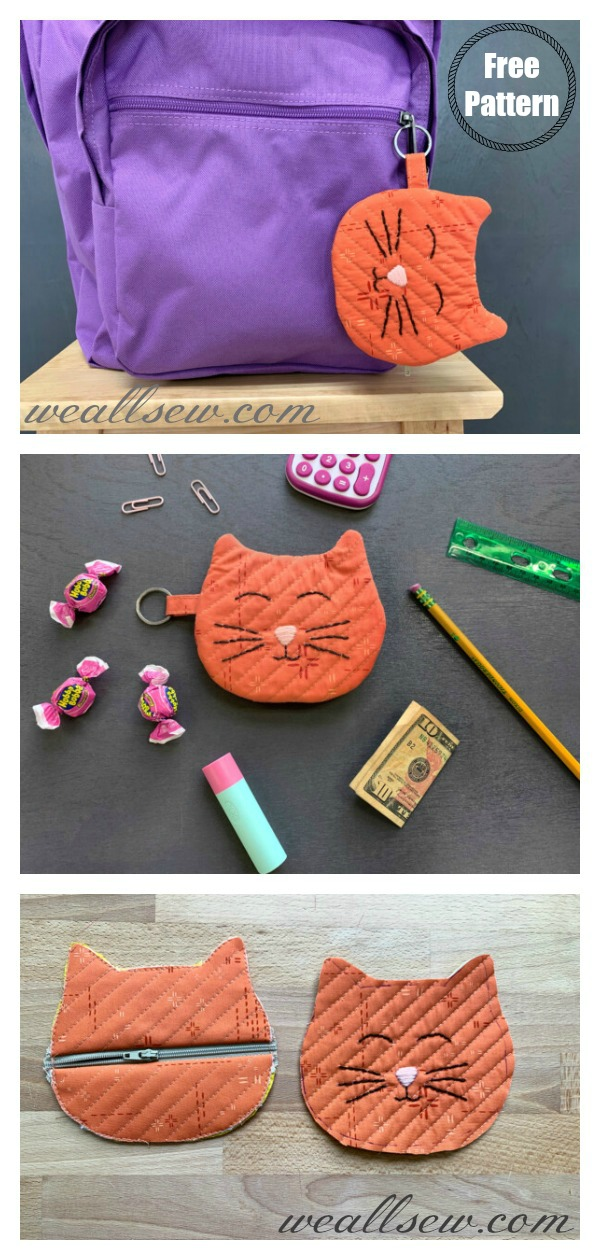 Cat Zipper Pouch Free Sewing Pattern