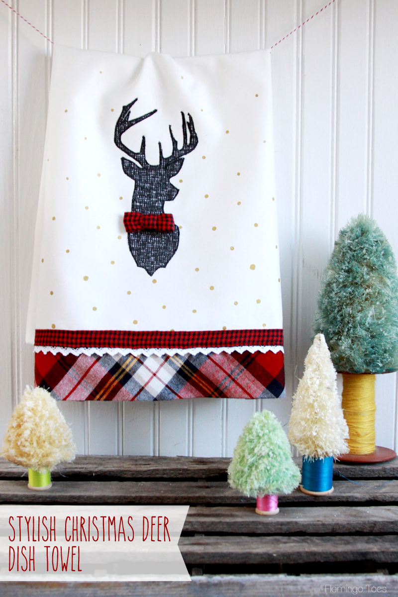 Christmas Deer Dish Towel Free Sewing Pattern